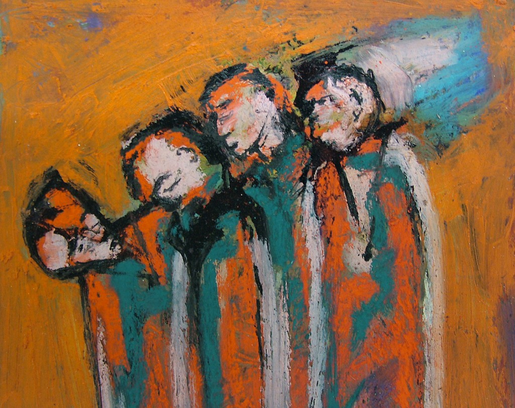 4 Travellers by Ricky Romain ( 2006. oil ink and pastel on paper. Private Collection)