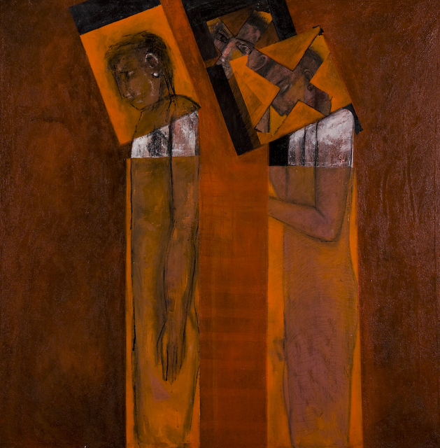Displaced and Disfigured by Ricky Romain.(2000/5 oil on canvas 107cm x 106cm £1500)