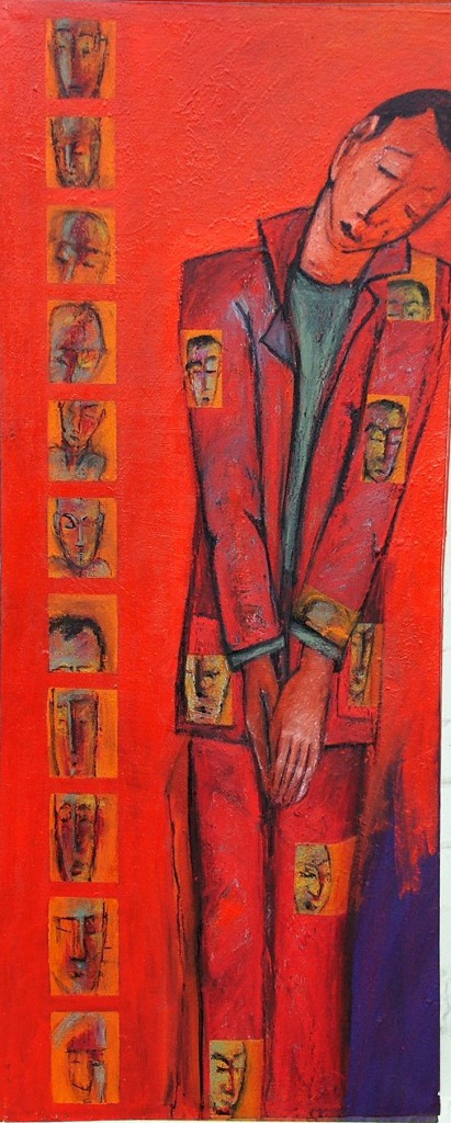 Coat Man 2 by Ricky Romain. ( 2004/5 oil on canvas. 150cm x 55cm. Private Collection)