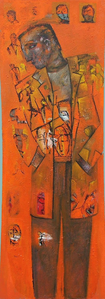 Coat Man by Ricky Romain (2005 oil on canvas 150cm x 60cm Private Collection)