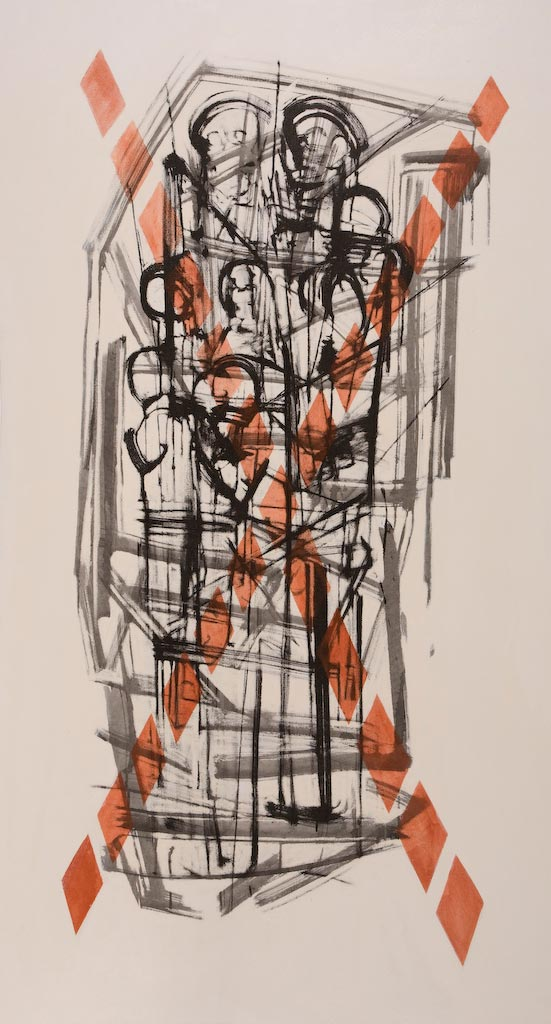 Container series number 2, by Ricky Romain (2003, oil and Indian ink on canvas, 177cm x 96cm, £1750).