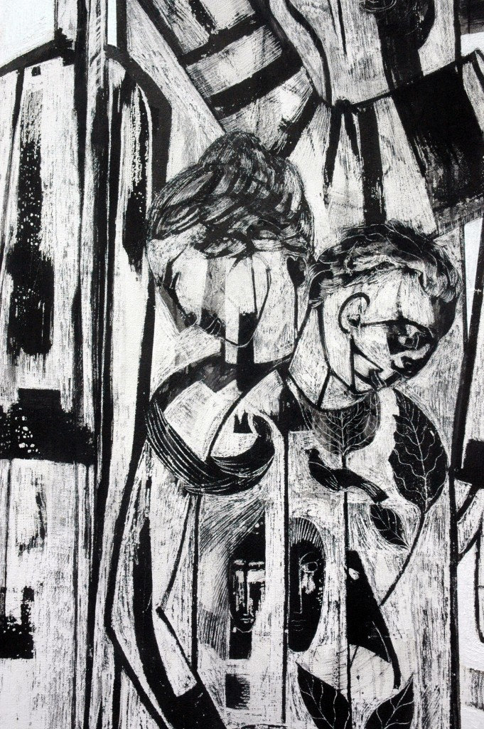 Democracy panel 1 (detail) by Ricky Romain oil and Indian ink on Gesso on Canvas. 240cm x 120cm