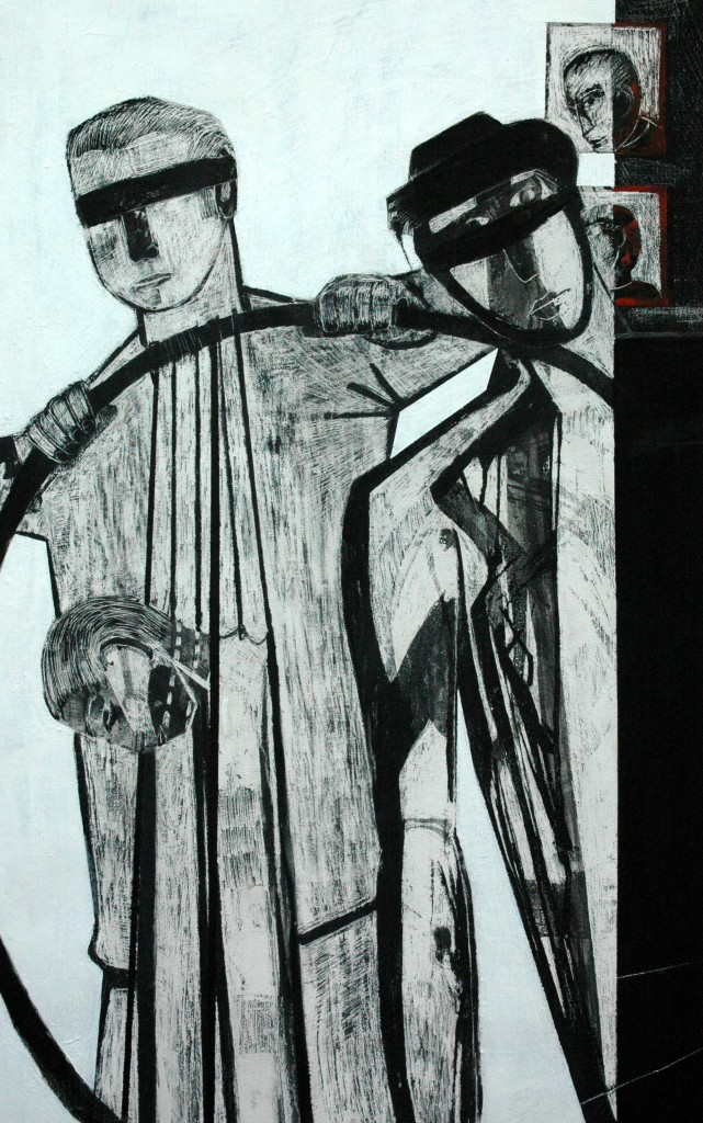 Democracy panel 3 (detail) by Ricky Romain oil and Indian ink on Gesso on Canvas. 240cm x 120cm