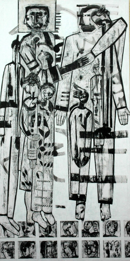 Democracy panel 1 by Ricky Romain oil and Indian ink on Gesso on Canvas. 240cm x 120cm