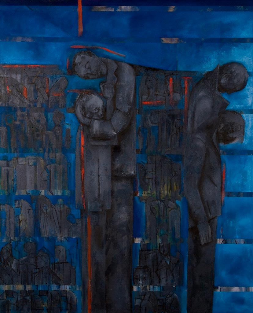 Gathered and Displaced, by Ricky Romain (2008/2009, oil on canvas, 148cm x 118cm,  £3500).