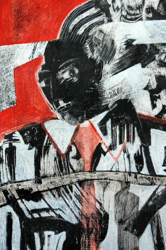 Hieroglyphics for the 21st Century by Ricky Romain oil and Indian ink on gesso on canvas detail