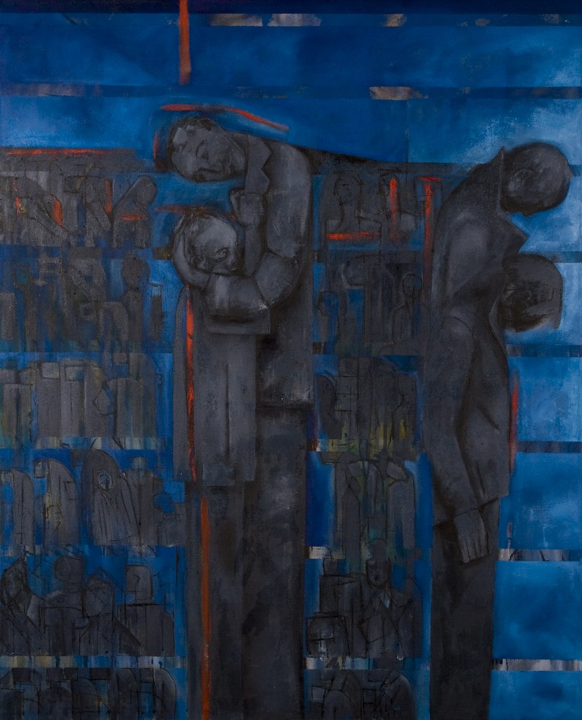 Gathered and Displaced by Ricky Romain. (2008/9 oil on canvas 148cm x 118cm £4500
