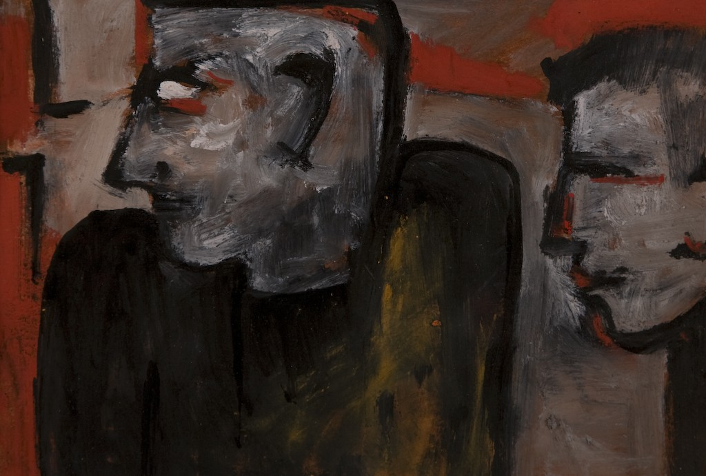 Facing East by Ricky Romain (2006 oil, ink and pastel on paper 28cm x 19cm. Private Collection)