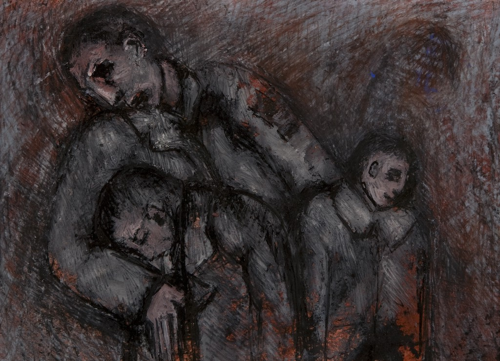 Rising to Birth with me as my own Brother. by Ricky Romain. (2007 oil ink and pastel on paper 28cm x 19cm Private Collection)