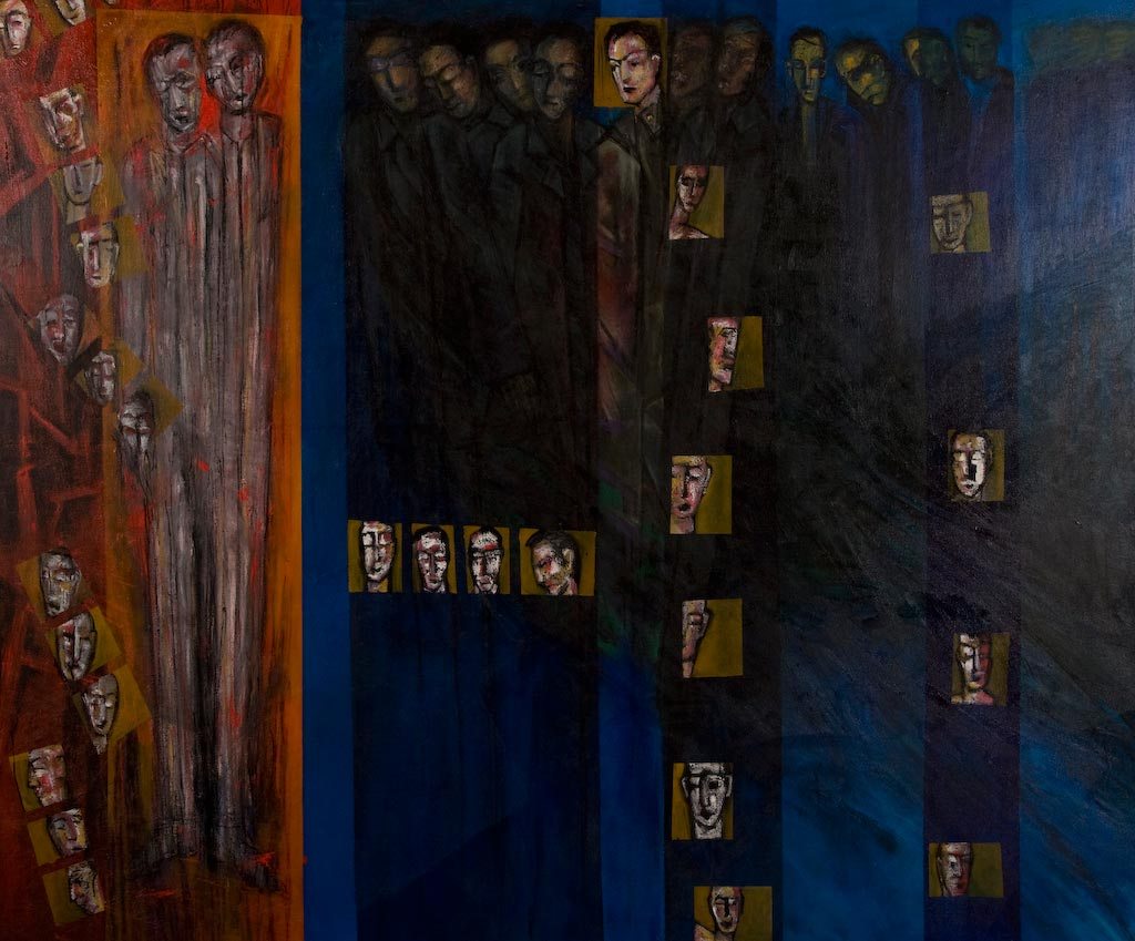 Passports and Visas, by Ricky Romain (2002/2003, oil on canvas, 205cm x 169cm, £3000).