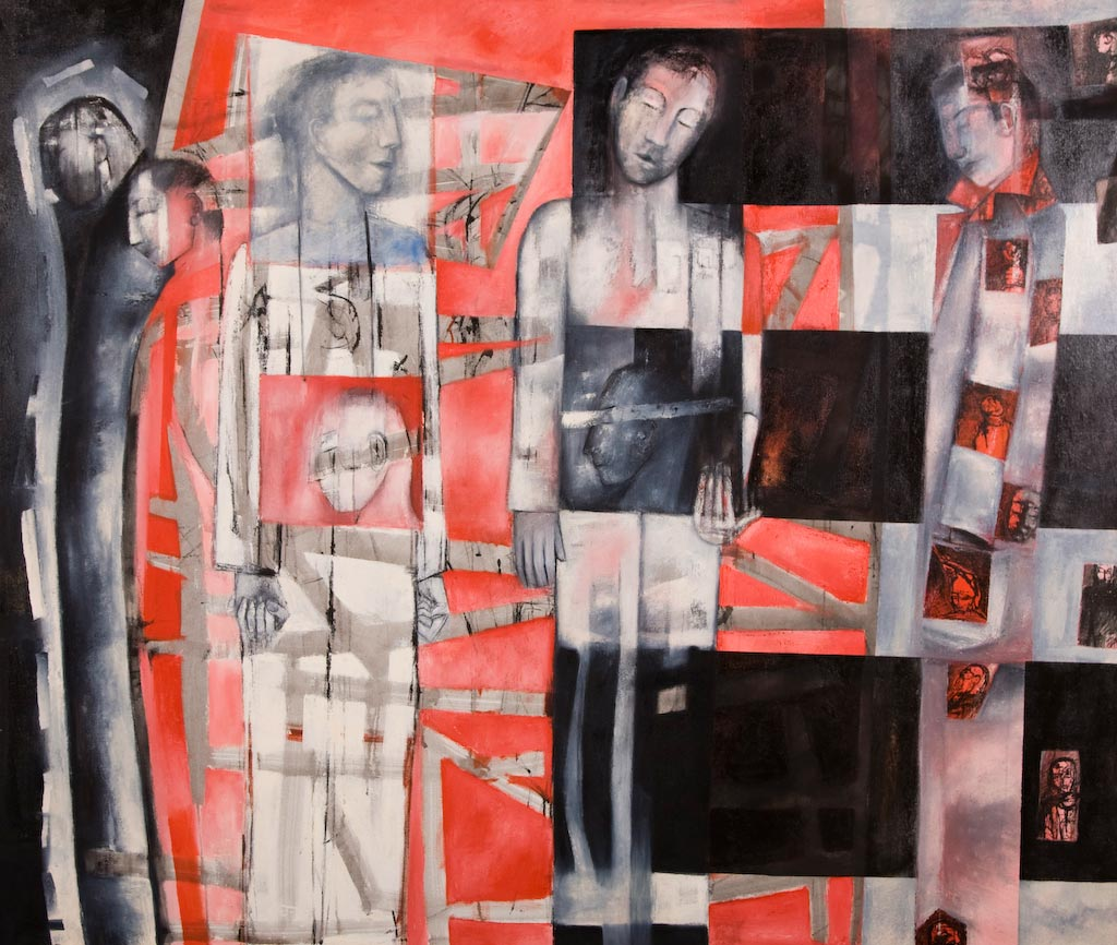 Scared Memory Figures, by Ricky Romain (2007, oil on canvas, 186cm x 155cm, £4000).