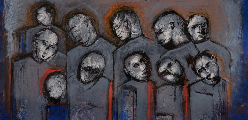 Standing 2, by Ricky Romain (2008, pastel on paper, private collection).