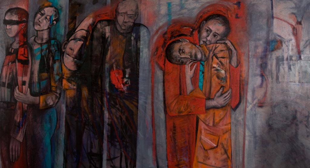 The Conscious and Unconscious Embrace, by Ricky Romain (2006, oil on canvas, 217cm x 117cm, £4750).