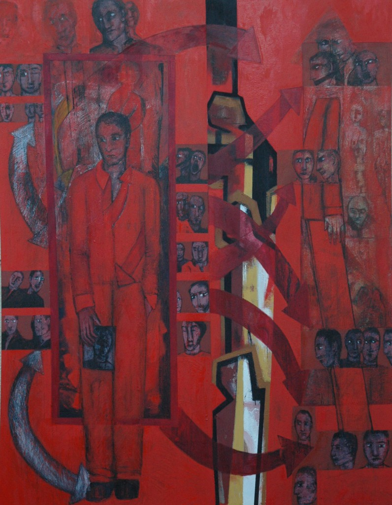 'A broken heart in Exile' by Ricky Romain oil on canvas. 184cm x 140cm. 2008/16