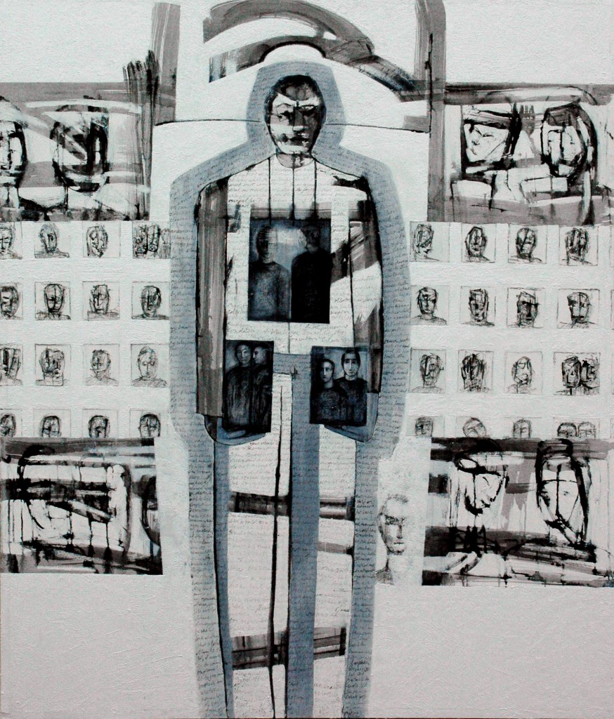 Manifesto for the Disappeared by Ricky Romain (2012 oil and Indian Ink on canvas. 160cm x 136cm £3000)