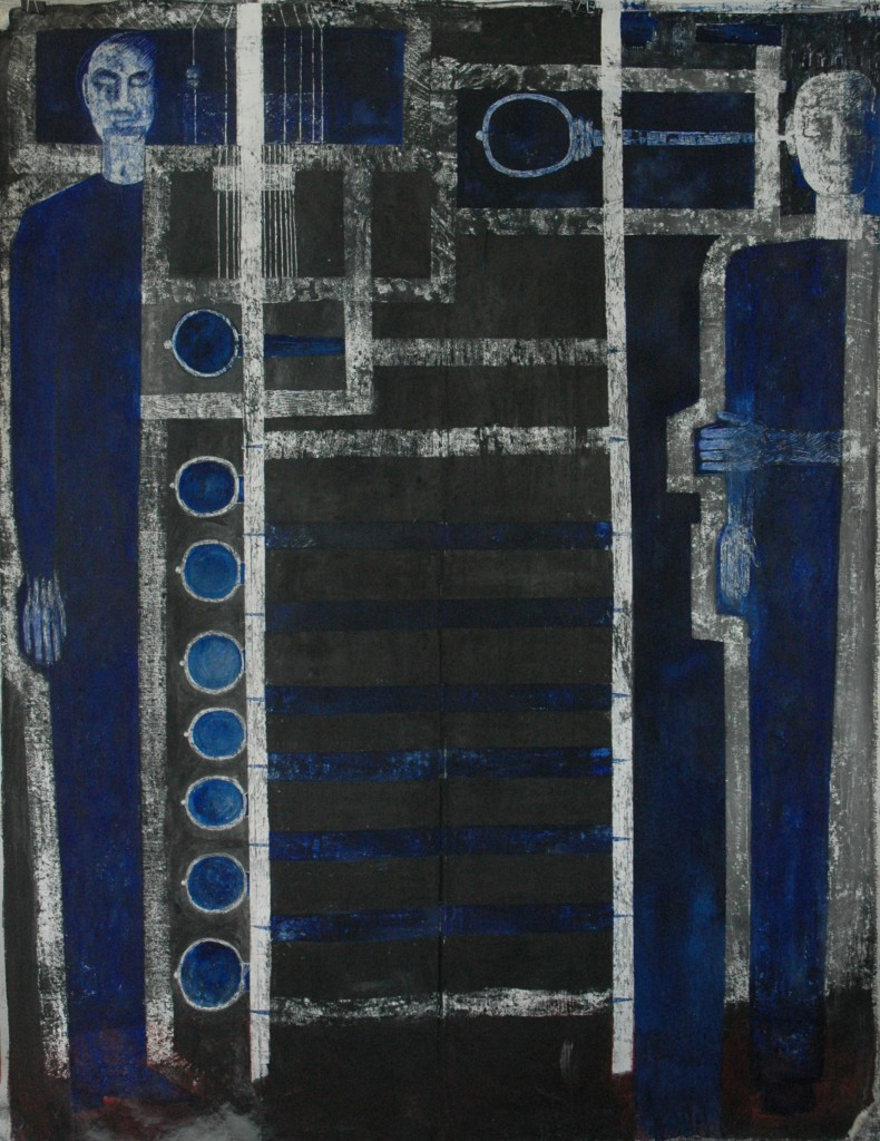 Tuning by Ricky Romain. oil and Indian Ink on gesso on unstreched canvas. 190cm x 150cm