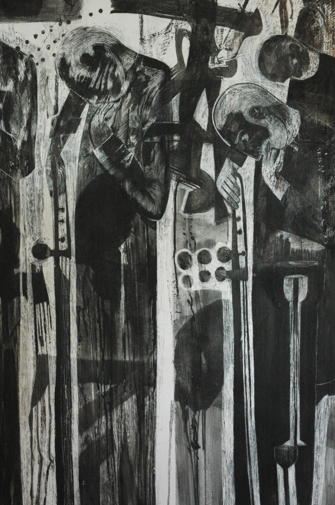 work in progress by Ricky Romain. 'the musicians who only sing and play for the drowning' Indian ink on gesso on canvas