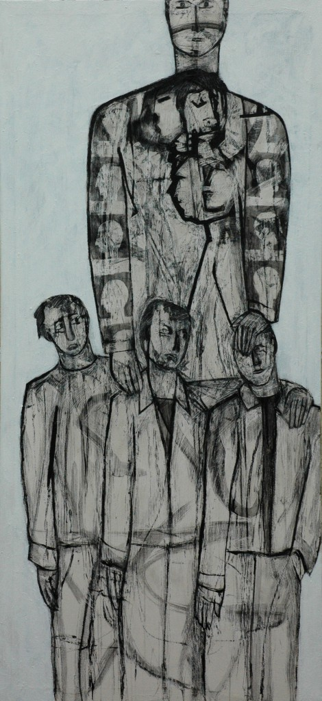 Lost Voices panel 12 by Ricky Romain. Oil and Indian Ink on Gesso on Canvas. 160cm x 70cm