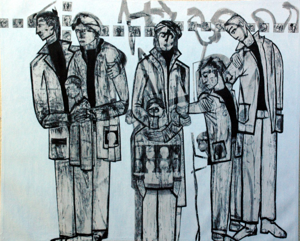 Lost Voices panel 15 by Ricky Romain. Oil and Indian Ink on Gesso on Canvas. 193cm x 175cm
