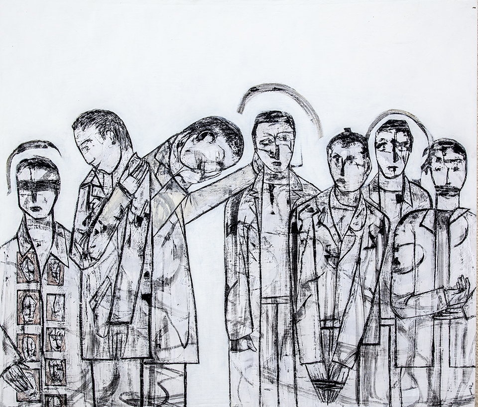 Lost Voices panel 1 by Ricky Romain. Oil and Indian Ink on Gesso on Canvas. !53cm x 132cm