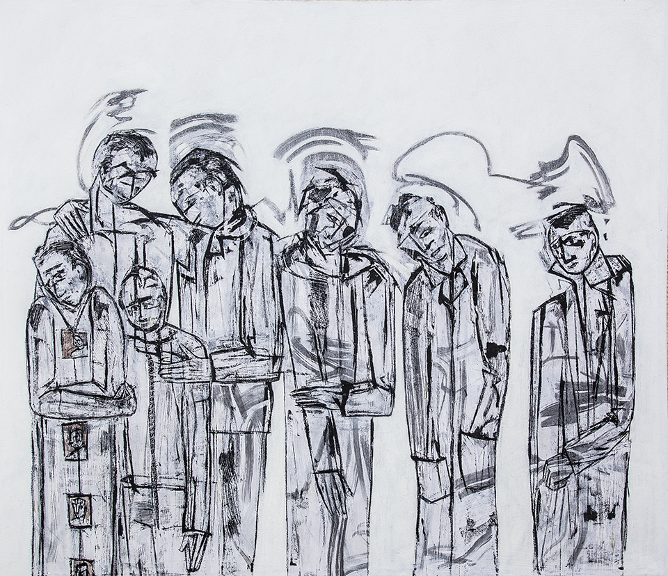 Lost Voices panel 2 by Ricky Romain. Oil and Indian Ink on Gesso on Canvas. !53cm x 132cm