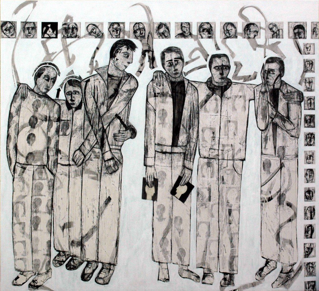 Lost Voices panel 11 by Ricky Romain. Oil and Indian Ink on Gesso on Canvas. 195cm x 177cm