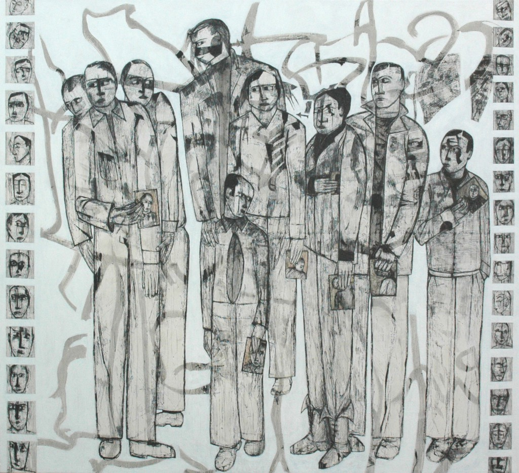 Lost Voices panel 10 by Ricky Romain. Oil and Indian Ink on Gesso on Canvas. 195cm x 177cm