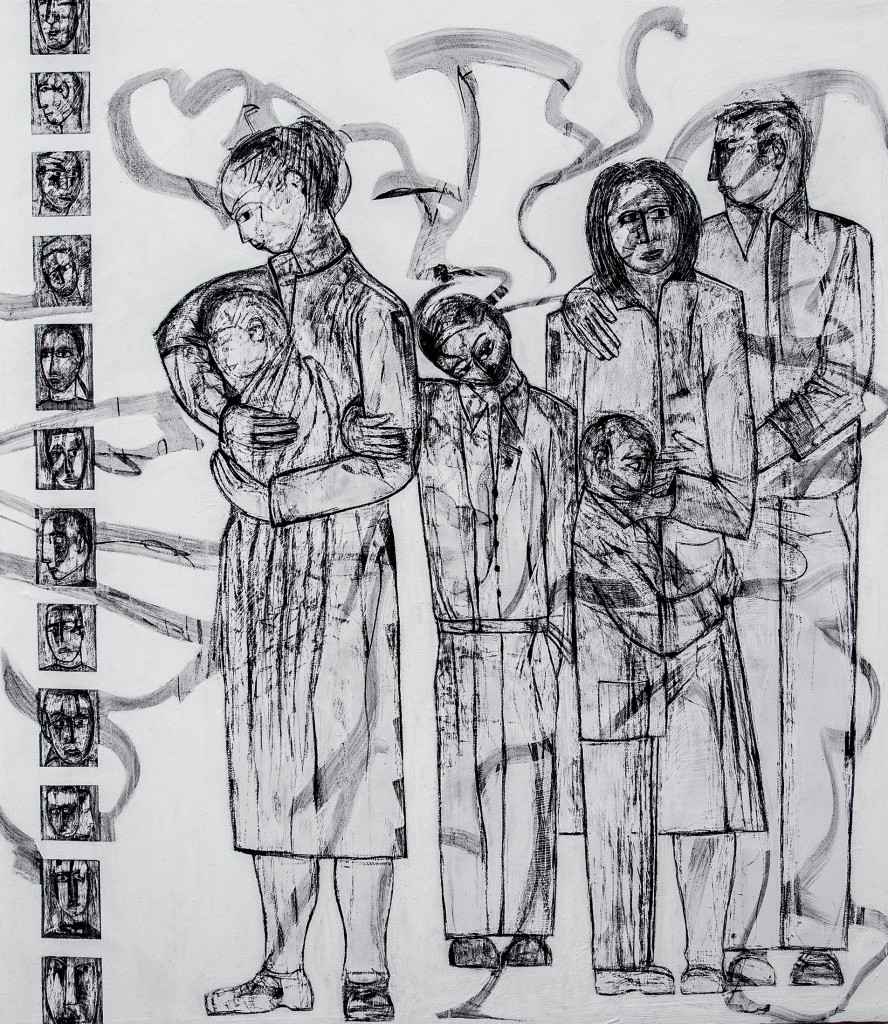 Lost Voices panel 8 by Ricky Romain. Oil and Indian Ink on Gesso on Canvas. !53cm x 132cm