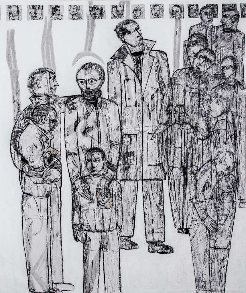 Lost Voices panel 9 by Ricky Romain. Oil and Indian Ink on Gesso on Canvas. !53cm x 132cm