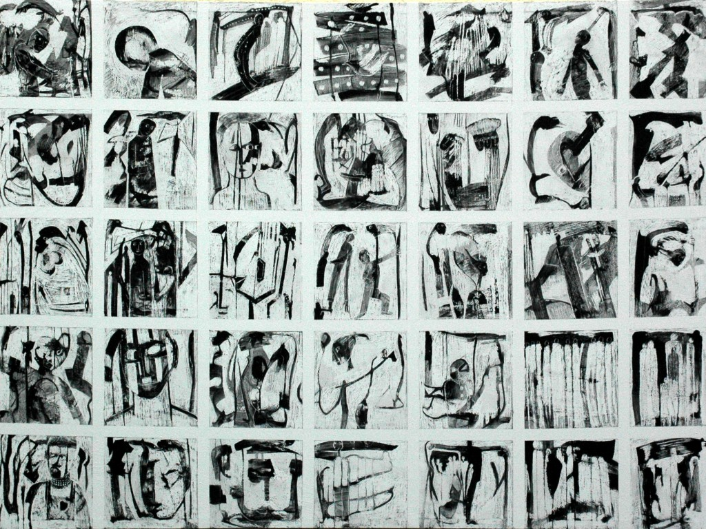 Some of the times I have Cried panel 4 by Ricky Romain oil and Indian Ink on gesso on canvas. 167cm x 146cm