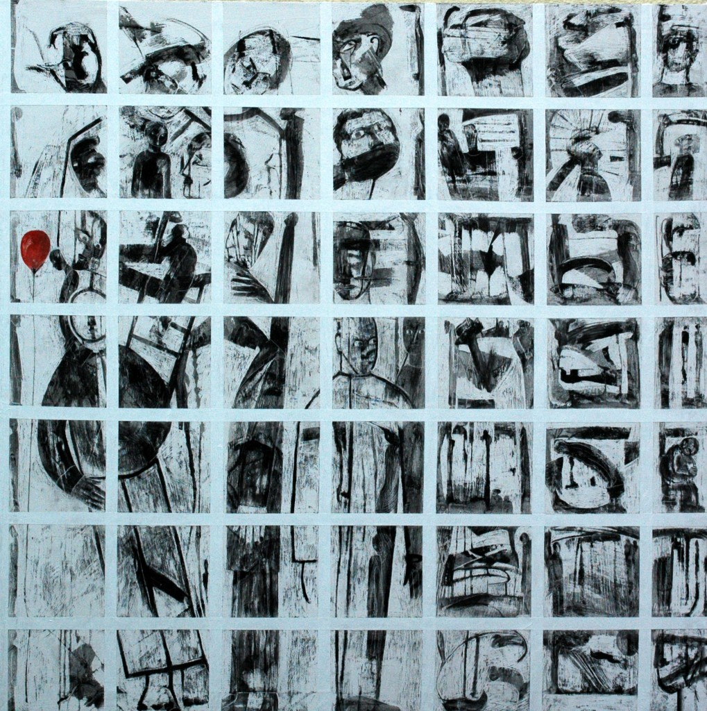 Some of the times I have cried. Panel 2 by Ricky Romain oil and Indian ink on gesso on canvas 150cm x 150cm