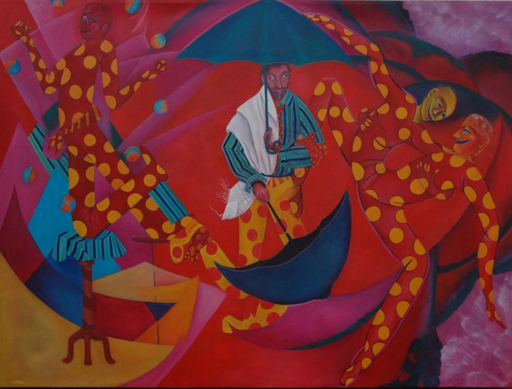 Reb Nachmans Umbrellas by Ricky Romain oil on canvas.300cm x200cm