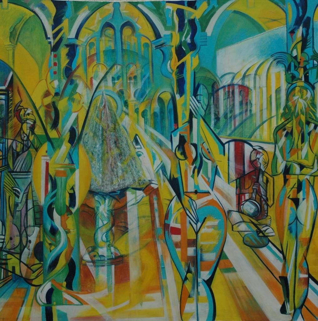 Poets Garden (Seville) by Ricky Romain oil on canvas 150cm x 1140cm 1995