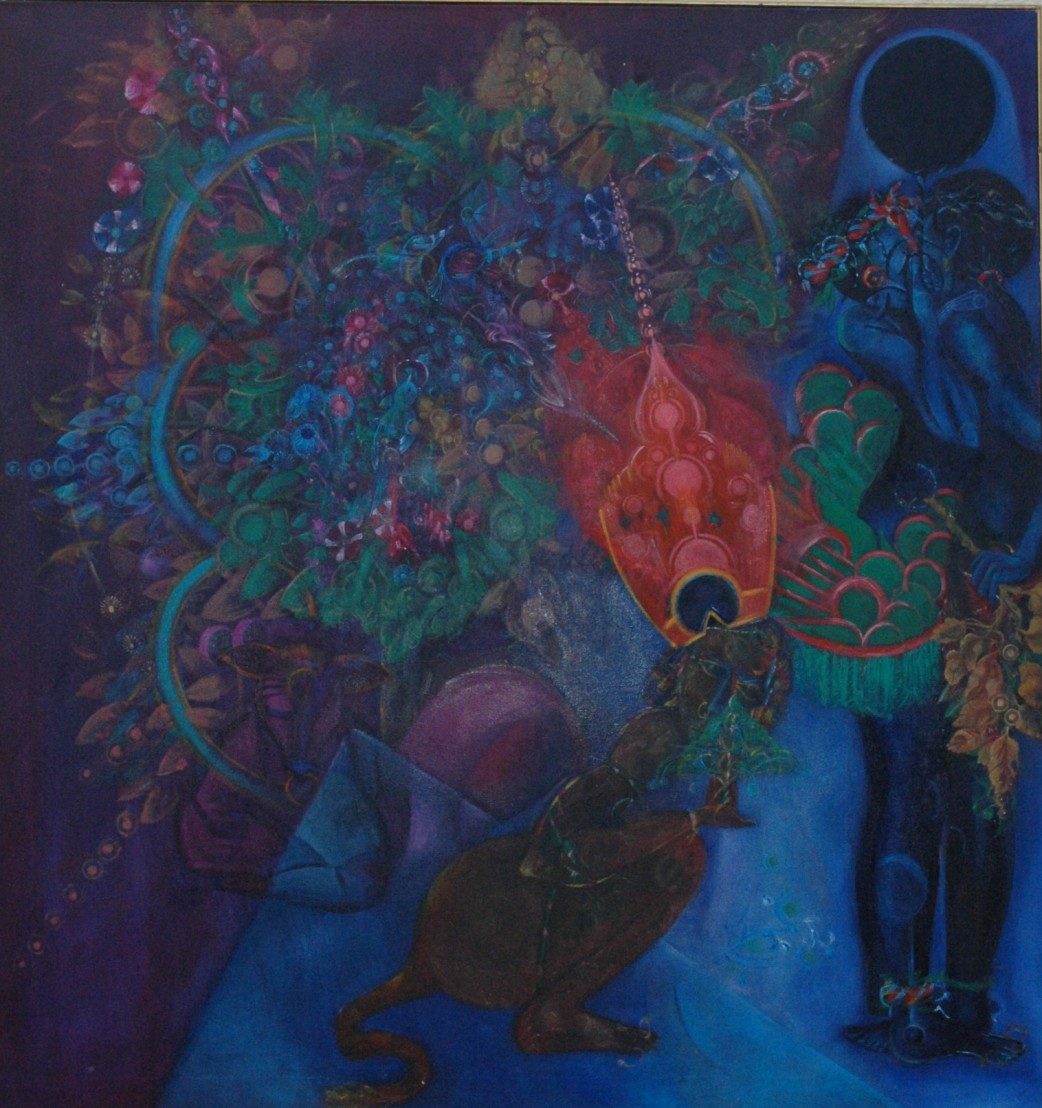 'Such is the Beauty of the Night oil  by Ricky Romain. oil on canvas 130cm x 120cm 1987 (private collection)