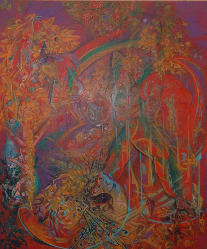 Shamanic Principle in the landscape by Ricky Romain oil on canvas 230cm x 200 cm 1994 (private collection)