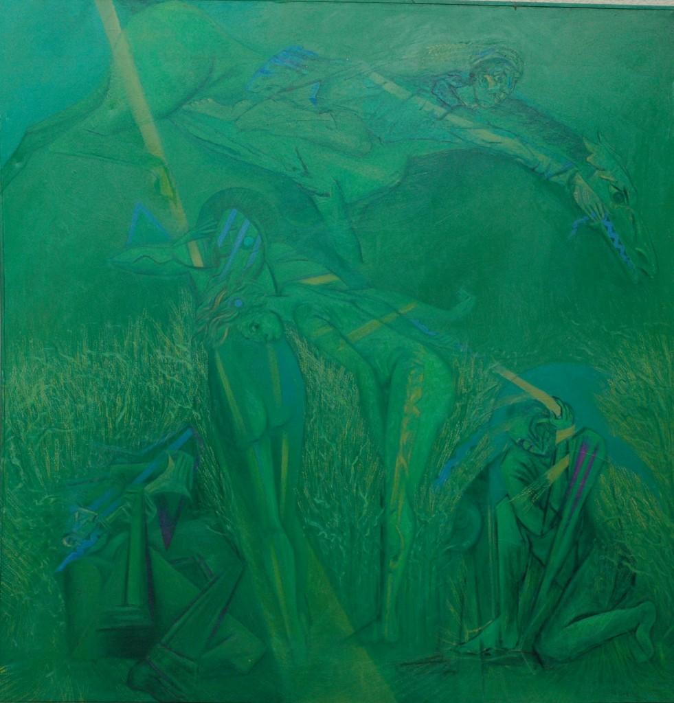 The Corn Horse Dancers by Ricky Romain. oil on canvas. 240cm x 230cm 1994