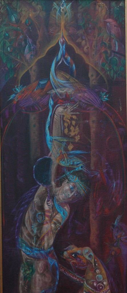 Silent Hands by Ricky Romain. oil on canvas. 160cm x 75cm 1992
