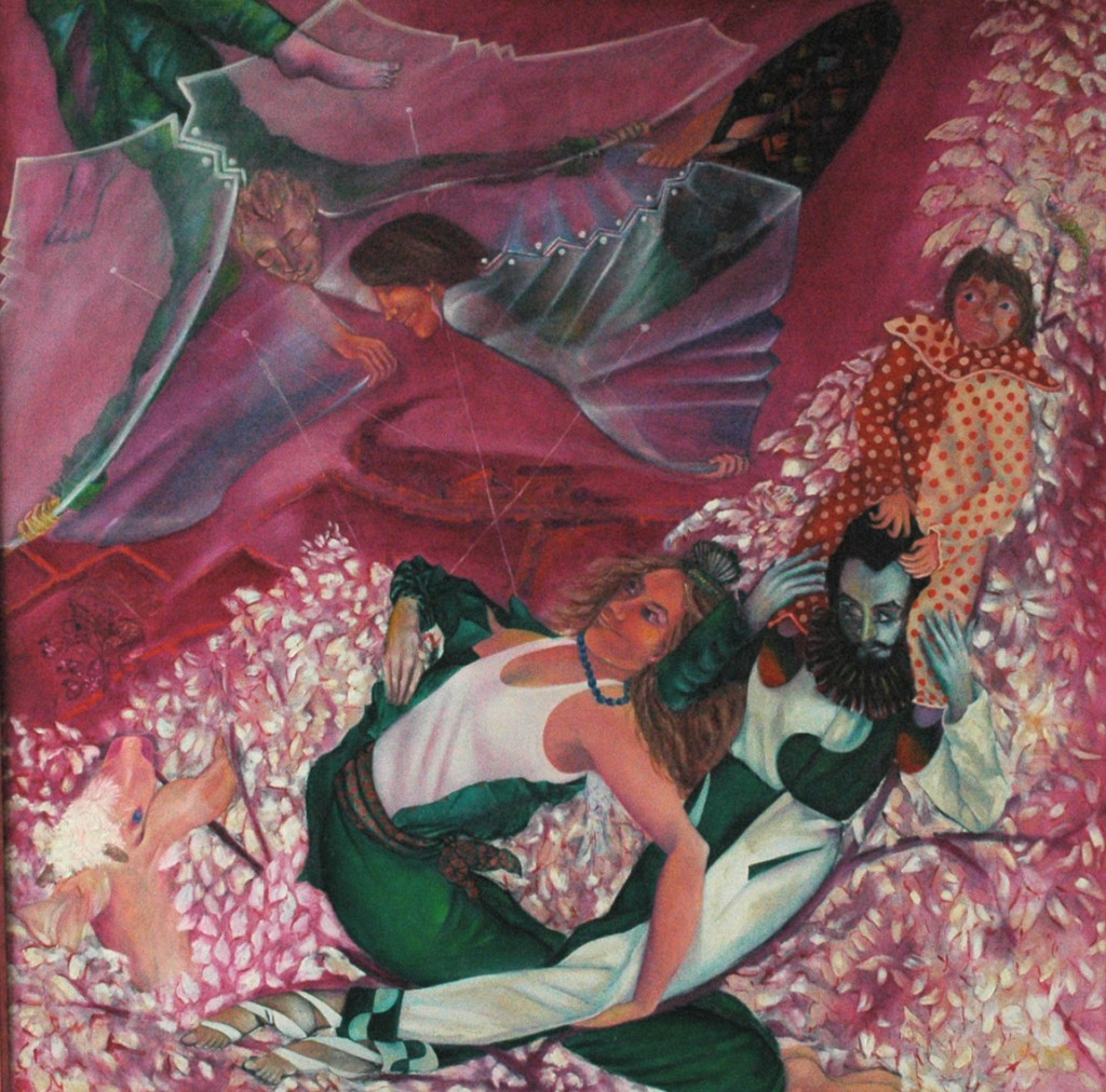 Growing up in Dalwood. by Ricky Romain. oil on canvas.150cm x150cm 1985/6