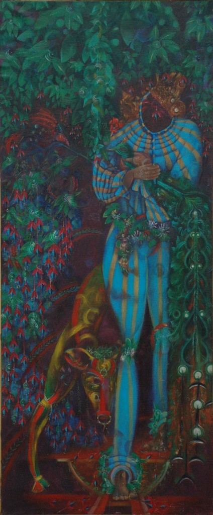 Language of Birds and Forgotten Dreams by Ricky Romain. oil on canvads. 175cm x 73cm 1987-89