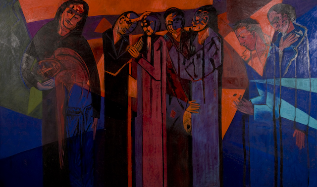 'Point of Arrival' by Ricky Romain. oil on canvas. 2001/2. 240cm x 185cm