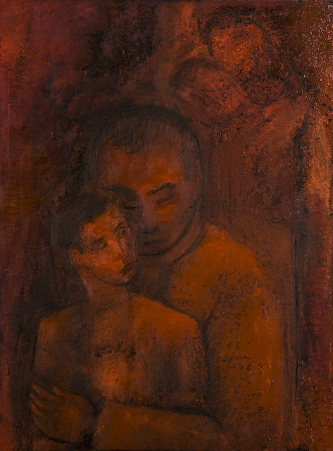 Father and Son by Ricky Romain. (2008 oil on canvas 40cm x 30cm. Private Collection)
