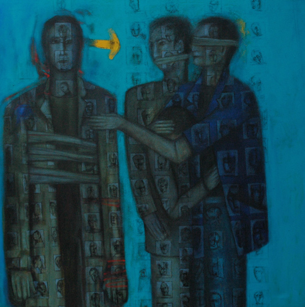 Keeping Quite by Ricky Romain. (2012 oil on canvas 110cm x110cm £2750