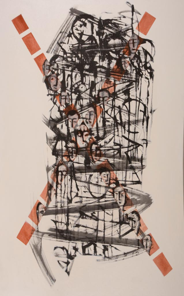 Container series number 1, by Ricky Romain (2003, oil and Indian ink on canvas, 180cm x 112cm, £1750).