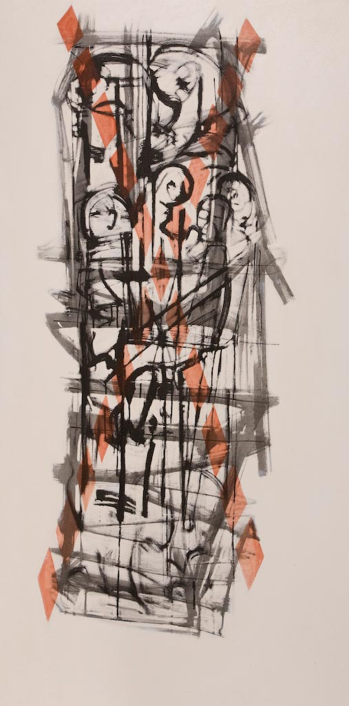 Container series number 3, by Ricky Romain (2003, oil and Indian ink on canvas, 177cm x 88cm, £1750).