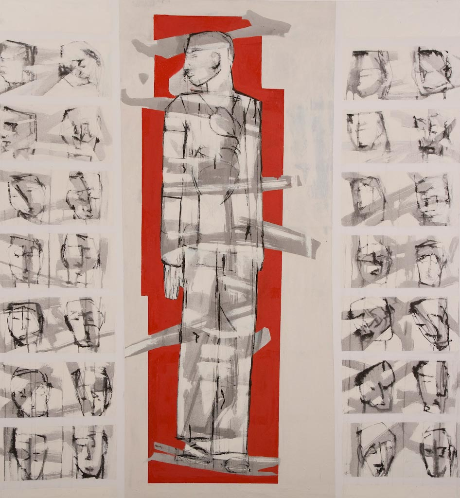 Container series number 7, by Ricky Romain (2008, oil and Indian ink on canvas, 144cm x 134cm, £2000).