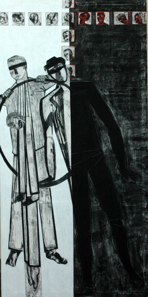 Democracy panel 3 by Ricky Romain oil and Indian ink on Gesso on Canvas. 240cm x 120cm