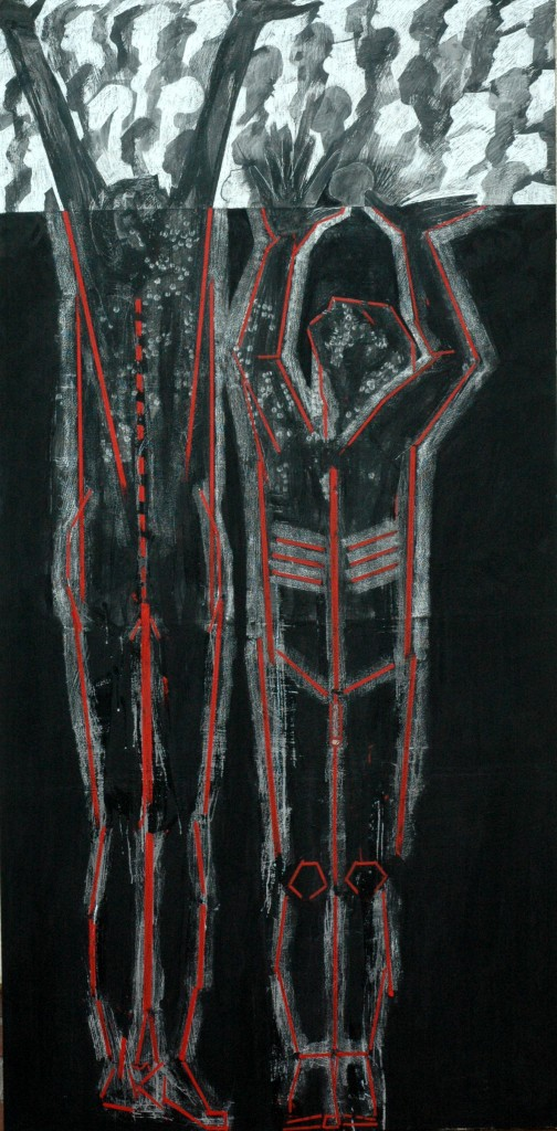 Democracy panel 2 by Ricky Romain oil and Indian ink on Gesso on Canvas. 240cm x 120cm