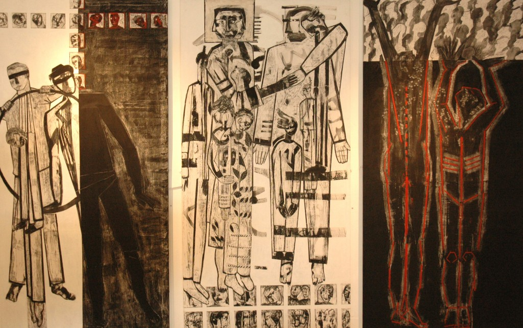 Democracy triptych by Ricky Romain at the Black Swan Long Gallery Frome oil and Indian ink on Gesso on Canvas. each panel 240cm x 120cm