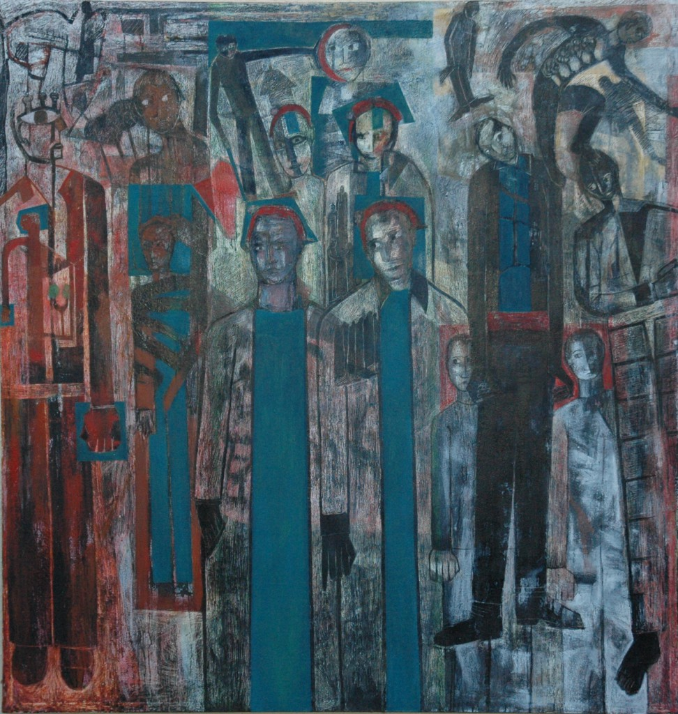 Marked Men at the Ghetto Theatre. (homage to Bomberge) by Ricky Romain. oil and ink on canvas. 142cm x 105cm. 2011/16