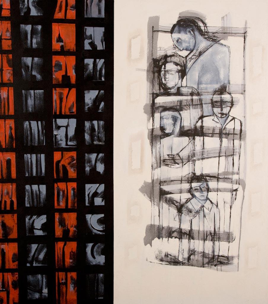 Group, by Ricky Romain (2008, oil on canvas, 175cm x 160cm, £4500).